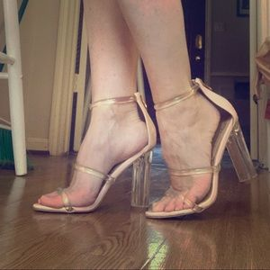 Strappy Lucite / Clear / nude heels - size 8
